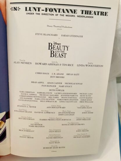 Playbill Beauty Beast 2002 Gently Used Cast
