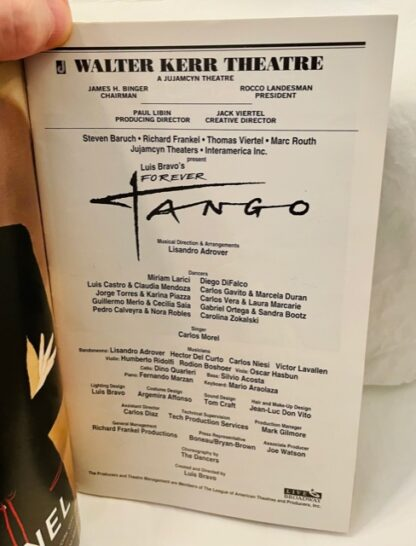 Playbill Forever Tango Black & White Cover 1997 Gently Used Cast