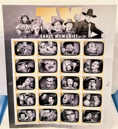 Early TV Memories Stamps USPS Sheet of 20 Front