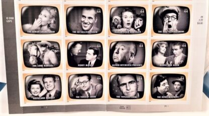 Early TV Memories Stamps USPS Sheet of 20 Front Close-up of Bottom
