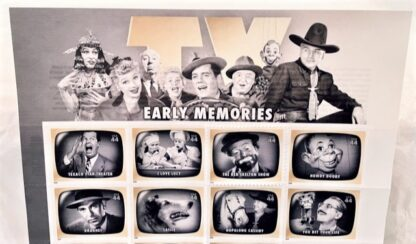 Early TV Memories Stamps USPS Sheet of 20 Front Close-up of Top