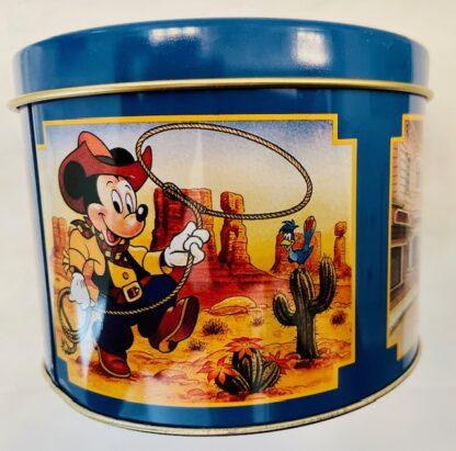 Disney WDW Mickey Tin Vintage Gently Used 4th Panel Mickey In Frontierland